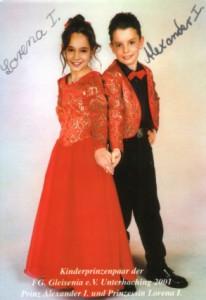 Kinderprinzenpaar der Saison 2000/2001 Prinz Alexander I. und Prinzessin Lorena I.