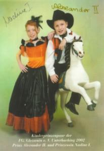 Kinderprinzenpaar der Saison 2001/2002 Prinz Alexander II. und Prinzessin Nadine I.