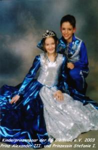 Kinderprinzenpaar der Saison 2002/2003 Prinz Alexander III. und Prinzessin Stefanie I.