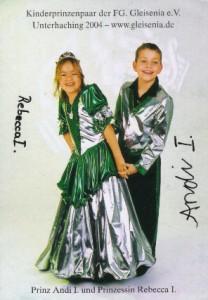 Kinderprinzenpaar der Saison 2003/2004 Prinz Andi I. und Prinzessin Rebecca I.